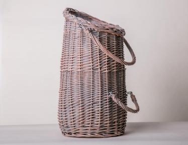 Old fashioned wicker pellet basket